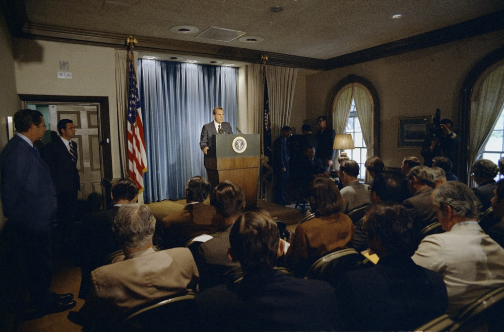 May 20, 1971. President Nixon at a podium announcing an agreement between te governments of the United States and the Soviet Union on the Strategic Arms Limitation Talks (SALT).  These remarks were being broadcast by radio and television.