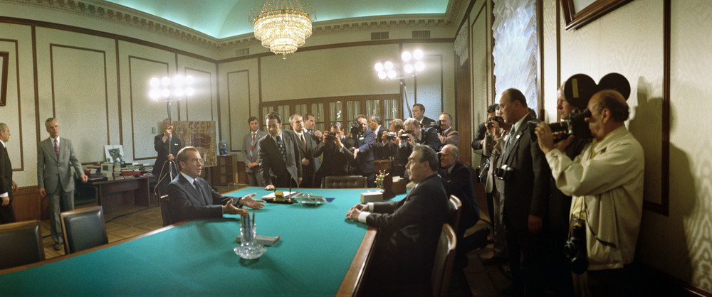 Panoramic shot of President Nixon holding discussions with Soviet Premier Brezhnev in the Kremlin, during the President's second visit to Russia