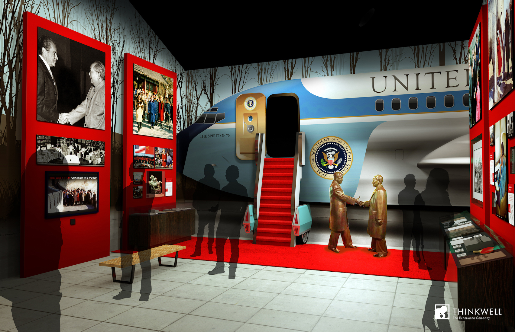 Rendering of the new exhibit on President Nixon's trip to China.