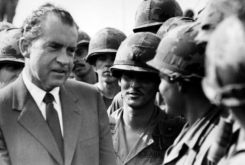 President Nixon speaks to American troops of the 1st Infantry Division in Vietnam.