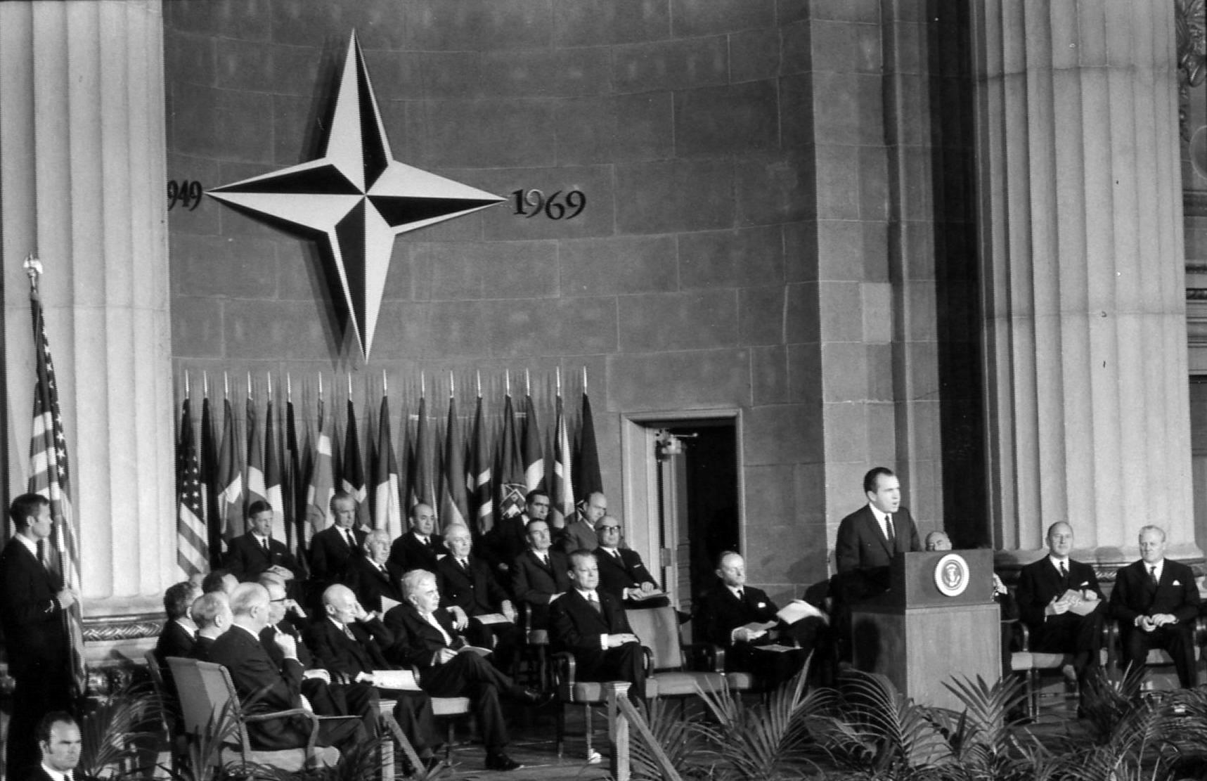 President Nixon addresses the commemorative session of the North Atlantic Council on April 10, 1969.