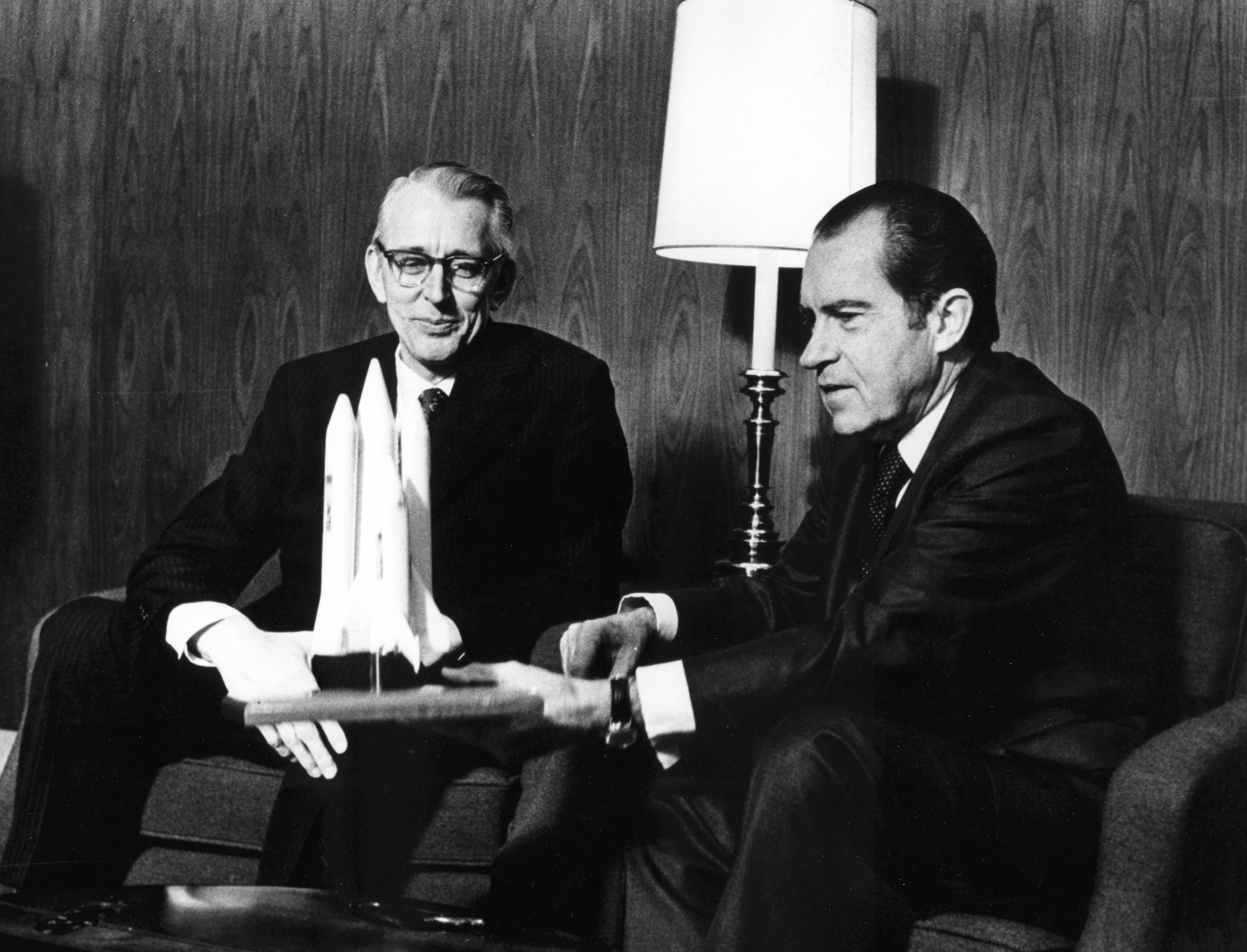 President Nixon and NASA Administrator James Fletcher discuss the space shuttle program.