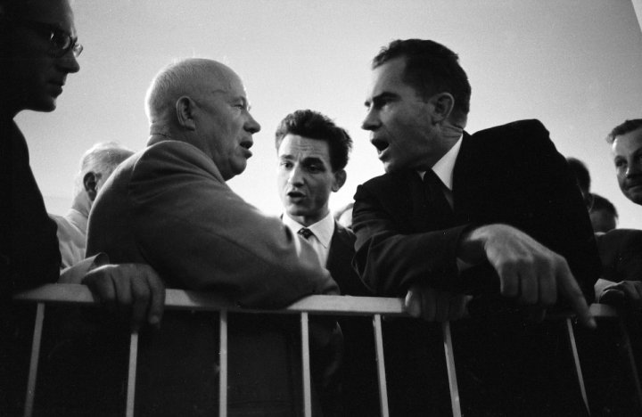American Vice President Richard Nixon (1913 - 1994) (second right) emphatically makes a point during an arguement with Soviet Premier Nikita Khrushchev (1894 - 1971) (second left) as an interpreter (center) translates their words, Moscow, Russia, July 25, 1959. (Photo by Howard Sochurek/The LIFE Picture Collection/Getty Images)