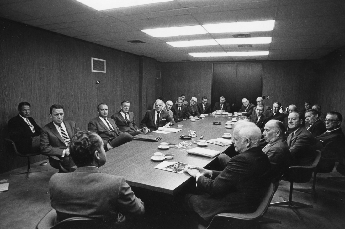 Photo: The original board of directors of the Richard Nixon Foundation. Kalmbach is seated directly to the left of President Nixon.