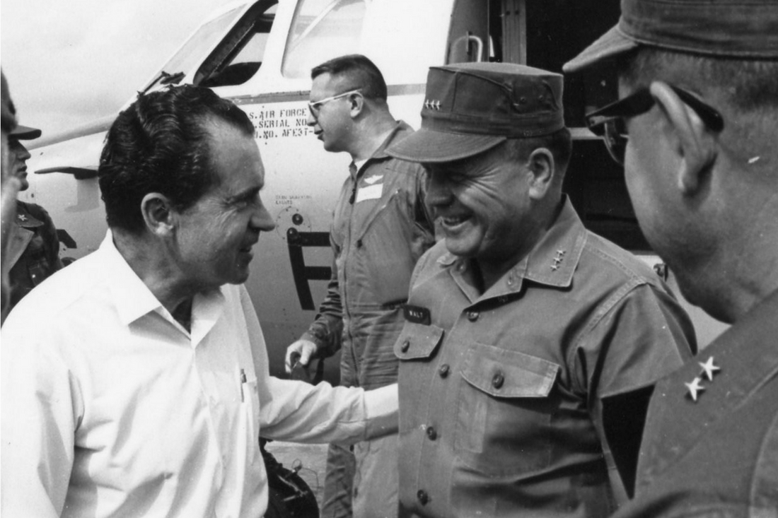 Richard Nixon is greeted by Lt. Gen. Lewis W. Walt at Da Nang Air Base, April 1967.
