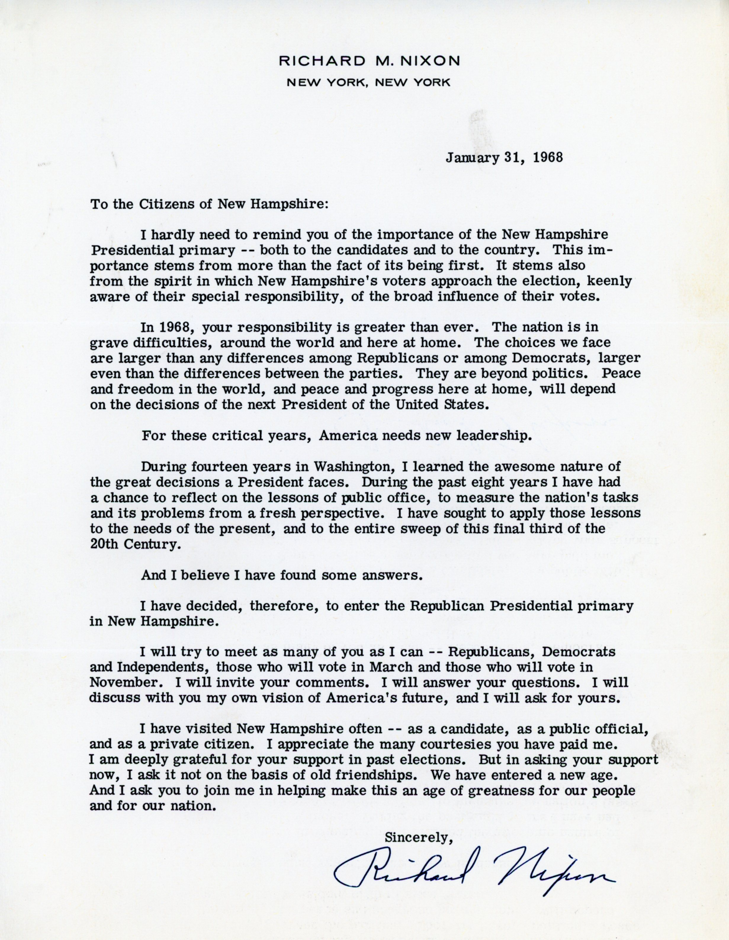 Richard Nixon's letter to New Hampshire