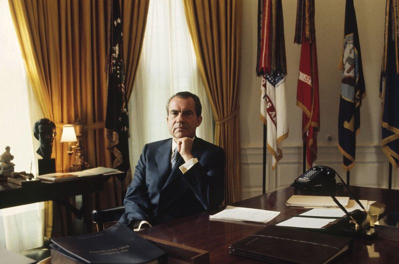 UNITED STATES - CIRCA 1900:  Richard Nixon in United States in the 1970s - in the Oval Office.  (Photo by Don Carl STEFFEN/Gamma-Rapho via Getty Images)