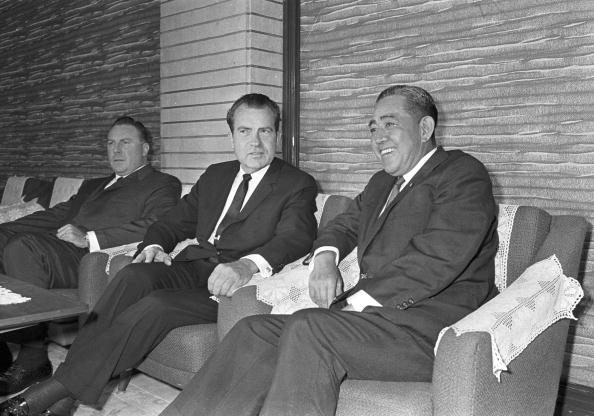 TOKYO, JAPAN - AUGUST 27: Japanese Prime Minister Eisaku Sato (R) meets former U.S. Vice President Richard Nixon (C) at Sato's official residence on August 27, 1969 in Tokyo, Japan. (Photo by Sankei/Getty Images)