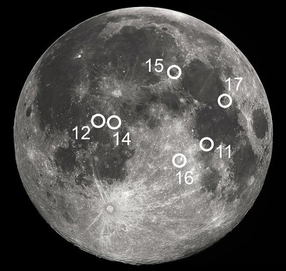 Apollo Moon Landing Spots